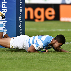 Santiago Chocobares of Argentina scores a try during the World Championship U 20 match between England and Argentina on May 30, 2018 in Narbonne, France. (Photo by Alexandre Dimou/Icon Sport)