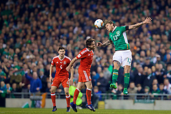 DUBLIN, REPUBLIC OF IRELAND - Friday, March 24, 2017: Wales' Joe Allen in action against Republic of Ireland's Jeff Hendrick during the 2018 FIFA World Cup Qualifying Group D match at the Aviva Stadium. (Pic by David Rawcliffe/Propaganda)