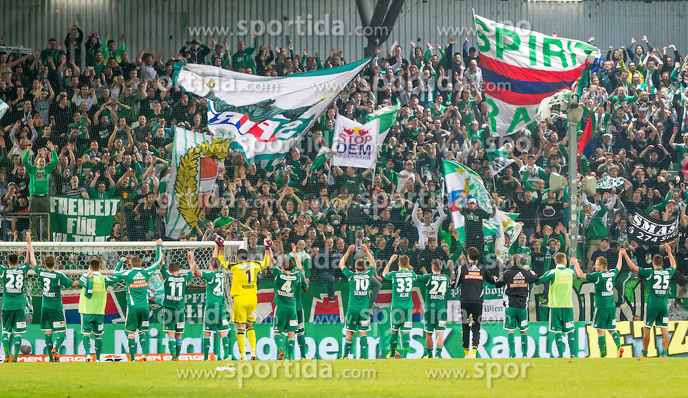 26.04.2014, Gerhard Hanappi Stadion, Wien, AUT, 1. FBL, SK Rapid Wien vs Red Bull Salzburg , 34. Runde, im Bild die Spieler von Rapid mit ihren Fans nach dem Spiel// during Austrian Bundesliga Football Match, 34th Round, between SK Rapid Wien and Red Bull Salzburg at the Gerhard Hanappi Stadion, Vienna, Austria on 2014/04/26. EXPA Pictures © 2014, PhotoCredit: EXPA/ Sebastian Pucher