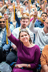 © Licensed to London News Pictures . 15/09/2019. Bournemouth, UK. Lib Dem members , including leader JO SWINSON , vote to reject an amendment to a motion to revoke article 50 should they form the next government. The Liberal Democrat Party Conference at the Bournemouth International Centre . Photo credit: Joel Goodman/LNP