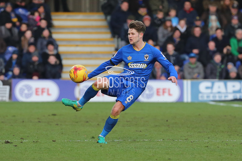 AFC Wimbledon midfielder Jake Reeves (8) controlling the ball during the EFL Sky Bet League 1 match between AFC Wimbledon and Oxford United at the Cherry Red Records Stadium, Kingston, England on 14 January 2017. Photo by Matthew Redman.