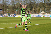 Forest Green Rovers Christian Doidge(9) scores a goal 0-1 and celebrates during the Vanarama National League match between Guiseley  and Forest Green Rovers at Nethermoor Park, Guiseley, United Kingdom on 8 April 2017. Photo by Shane Healey.