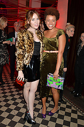 Left to right, ANGELA SCANLON and GEMMA CAIRNEY at the Tunnel of Love art and fashion auction and dinner in aid of the British Heart Foundation held at One Mayfair, London on 12th November 2013.