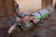 A customised motorbike in the village of Bairat on the West Bank of Luxor, Nile Valley, Egypt.