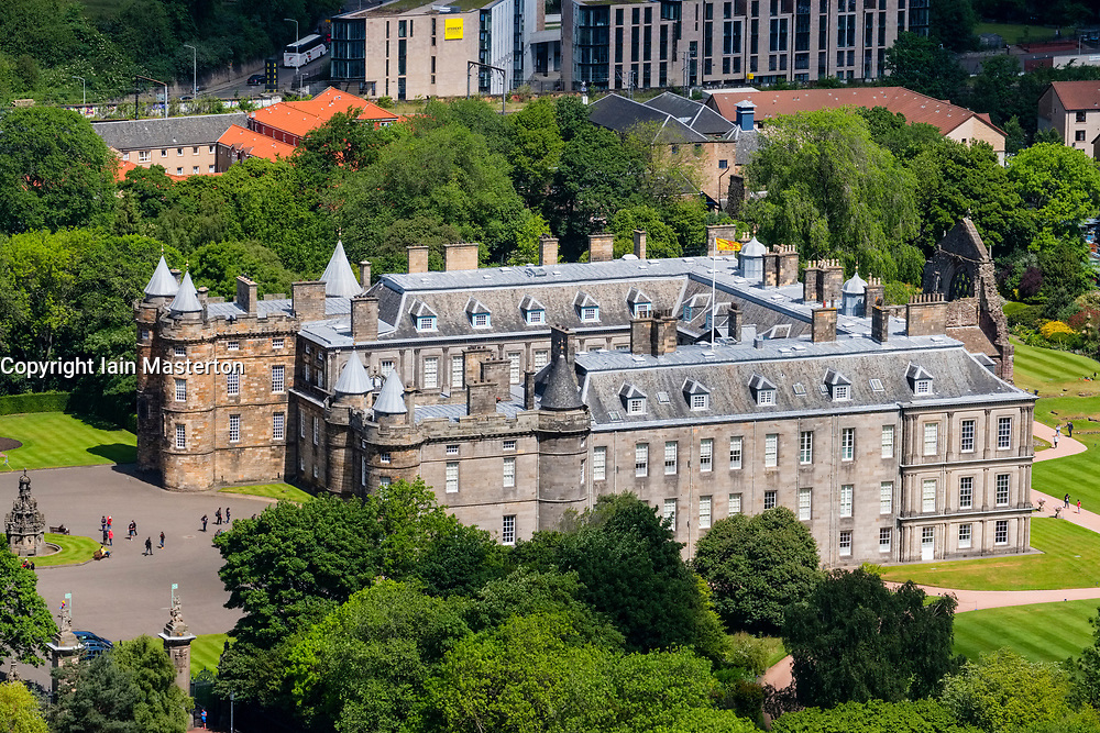 View of Palace of Holyroodhouse from Salisbury Crags in Edinburgh, Scotland, United Kingdom