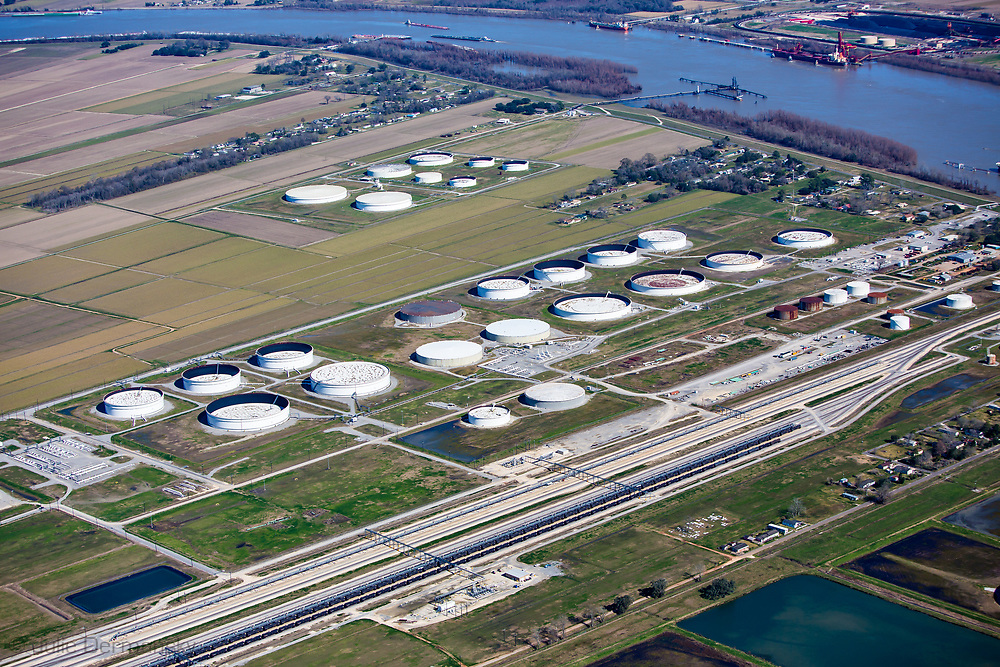 NuStar Energy  Oil tanks and train terminal in St. James, Louisiana next to the community on Burton Lane. The proposed Bayou Bridge pipeline will end in St. James.