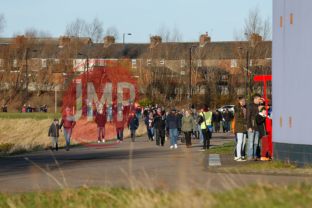 Supporters arrive at the stadium - Photo mandatory by-line: Rogan Thomson/JMP - 07966 386802 - 04/01/2015 - SPORT - FOOTBALL - Sunderland, England - Stadium of Light - Sunderland v Leeds United - FA Cup Third Round Proper.
