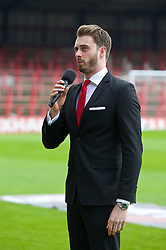 WREXHAM, WALES - Saturday, May 3, 2014: David Mahoney sings the Welsh national anthem before the Welsh Cup Final between Aberystwyth Town and The New Saints at the Racecourse Ground. (Pic by David Rawcliffe/Propaganda)