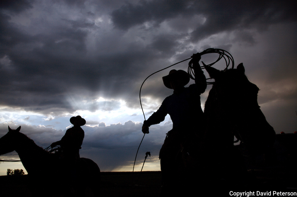 Against the backdrop of a stormy sky, cowboys get ready for a bi-annual roundup at the Bar B ranch near Albia, Iowa,  where calves will be rounded up for vaccinations, branding, the implant of growth stimulants, and in some cases, castration.  Ranch owner Catherine Bay runs the operation with a herd of over 2,000 cattle.