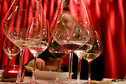 Empty wine glasses at a restaurant in Los Angeles, California.