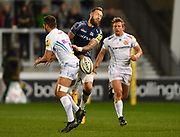 Exeter Chiefs full-back Phil Dollman competes for the ball with Sale Sharks wing Byron McGuigan during the The Aviva Premiership match Sale Sharks -V- Exeter Chiefs  at The AJ Bell Stadium, Salford, Greater Manchester, England on Friday, October 27, 2017. (Steve Flynn/Image of Sport)