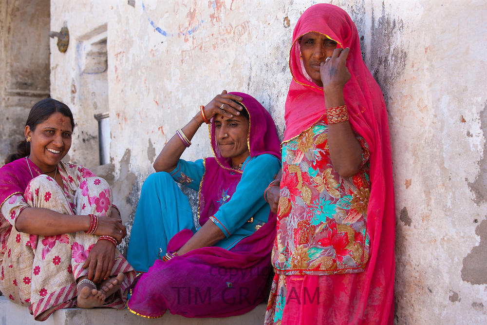 Indian women at home in Tarpal in Pali District of Rajasthan, Western India