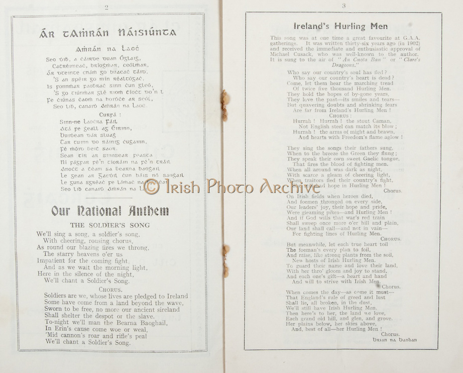 All Ireland Senior Hurling Championship Final, .Brochures,.03.09.1939, 09.03.1939, 3rd September 1939,.Kilkenny 2-7, Cork 3-3, .Minor Kilkenny v Cork,.Senior Kilkenny v Cork, .Croke Park, ..Songs, Ar Tamran Naisiunta, Our National Anthem The Soldier's Song, Ireland's Hurling Men,