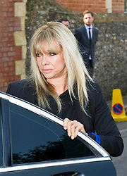 Jo Wood attending the funeral of  Peaches Geldof.<br /> Friends and family arrive at St Mary Magdalene and St Lawrence church in the village of Davington, Kent, to the funeral of Peaches Geldof.<br /> Monday, 21st April 2014. Picture by i-Images