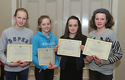 Westport Athletics awards Kitty Harburn, Annie Noonan, Eimear Corduff and Ella Staunton Connacht Indoors and cross country medalists.<br /> Pic Conor McKeown