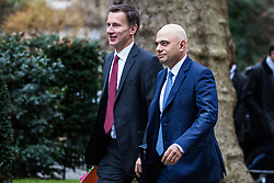 London, UK. 15th January, 2019. Jeremy Hunt MP, Secretary of State for Foreign and Commonwealth Affairs, and Sajid Javid MP, Secretary of State for the Home Department, arrive at 10 Downing Street for a Cabinet meeting on the day of the vote in the House of Commons on Prime Minister Theresa May's proposed final Brexit withdrawal agreement.