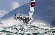 Linda Fahrni and Maja Siegenthaler from Switzerland sail during a 470 Womens class race in the Rio 2016 Olympic Games Sailing events in Rio de Janeiro, Brazil, 11 August 2016.