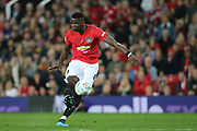 Manchester United's Paul Pogba shoots during the EFL Cup match between Manchester United and Rochdale at Old Trafford, Manchester, England on 25 September 2019.