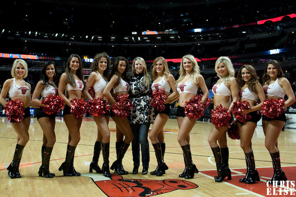17 December 2009: Cheerleaders Luvabulls pose during the Chicago Bulls 98-89 victory over the New York Knicks at the United Center, in Chicago, Illinois, USA.