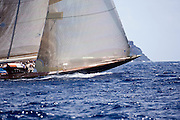 Velsheda sailing in the Old Road Race at the Antigua Classic Yacht Regatta.
