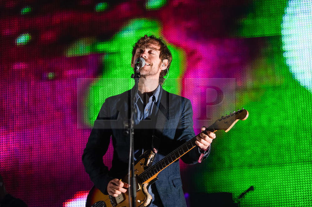 © Licensed to London News Pictures. 30/05/2014. Barcelona, Spain.   The National performing live at Primavera Sound festival.   In this picture - Aaron Dessner. The National is an American indie rock band composed of members Matt Berninger (vocals), Aaron Dessner (guitar and keyboard), Bryce Dessner (guitar), Scott Devendorf (bass) and Bryan Devendorf (drums).  The band's sixth album, 'Trouble Will Find Me' released in May 2013, was nominated in the 2014 Grammys for Best Alternative Album.  Primavera Sound, or simply Primavera, is an annual music festival that takes place in Barcelona, Spain in late May/June within the Parc del Fòrum leisure site. Photo credit : Richard Isaac/LNP