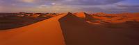 Sahara desert landscape , on the outskirts of Merzouga . Sahara desert . Morocco