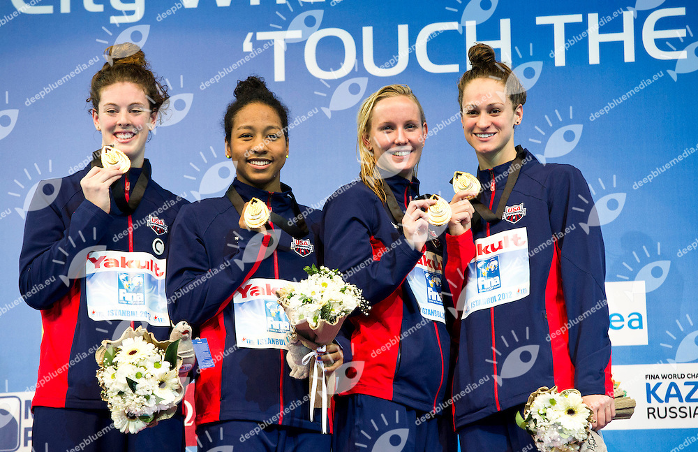 USA Gold Medal  .Women 4x100m Freestyle.FINA World Short Course Swimming Championships.Istanbul Turkey 12 - 16 Dec. 2012.Day 04.Photo G.Scala/Deepbluemedia/Inside