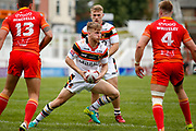 Bradford Bulls scrum half Joe Keyes (7) in action  during the Kingstone Press Championship match between Sheffield Eagles and Bradford Bulls at, The Beaumont Legal Stadium, Wakefield, United Kingdom on 3 September 2017. Photo by Simon Davies.