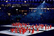 RIO DE JANEIRO - Vuurwerk in het Maracana stadion tijdens de openingsceremonie van de Olympische Spelen van Rio. ANP ROBIN UTRECHT
