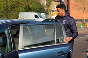 AFC Wimbledon goalkeeper Nathan Trott (1) getting out of a taxi during the EFL Sky Bet League 1 match between AFC Wimbledon and Fleetwood Town at the Cherry Red Records Stadium, Kingston, England on 8 February 2020.