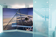 Airbus video presentation screen and corporate messages in the company's hospitality chalet at the Farnborough Airshow, on 18th July 2018, in Farnborough, England.