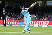 Joe Root of England swings at a ball during the ICC Cricket World Cup 2019 Final match between New Zealand and England at Lord's Cricket Ground, St John's Wood, United Kingdom on 14 July 2019.