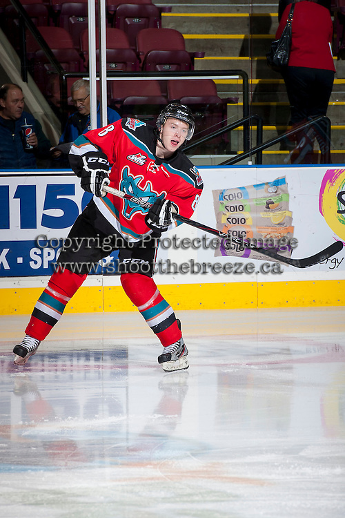 KELOWNA, CANADA - OCTOBER 11:   Cole Martin #8 of the Kelowna Rockets warms up on the ice against the Seattle Thunderbirds on October 11, 2013 at Prospera Place in Kelowna, British Columbia, Canada (Photo by Marissa Baecker/Shoot the Breeze) *** Local Caption ***