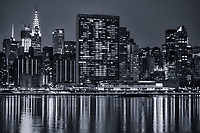 Chrysler Building (left) & United Nations Headquarters (center), Midtown (monochrome)