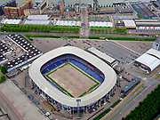 Nederland, Zuid-Holland, Rotterdam; 14–05-2020; stadsdeel Feijenoord. Het Feyenoord stadion, De Kuip, zonder grasmat.<br /> The Feyenoord stadium, De Kuip, without turf.<br /> luchtfoto (toeslag op standaard tarieven);<br /> aerial photo (additional fee required)<br /> copyright © 2020 foto/photo Siebe Swart