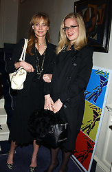 Left to right, MISS CLEMENTINE HAMBRO and MISS CAMILLA LONG at a Conservative Party Reception for the Art held at 24 Thurloe Square, Lndon SW7 on 5th April 2005.<br />