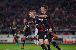 December 8, 2017 - Stuttgart, Germany - Leverkusens Lars Bender celebrates with his team mate Julian Baumgartlinger after scoring the 2-0 goal during the Bundesliga match between VfB Stuttgart and Bayer 04 Leverkusen at Mercedes-Benz Arena on December 8, 2017 in Stuttgart, Germany. (Credit Image: © Bartek Langer/NurPhoto via ZUMA Press)