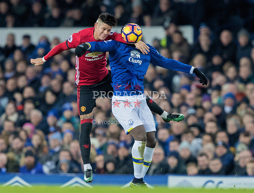 LIVERPOOL, ENGLAND - Sunday, December 4, 2016: Everton's Romelu Lukaku in action against Marcos Rojo of Manchester United during the FA Premier League match at Goodison Park. (Pic by Gavin Trafford/Propaganda)