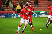 Stoke City midfielder Joe Allen (4) warming up during the Premier League match between Stoke City and Watford at the Britannia Stadium, Stoke-on-Trent, England on 3 January 2017. Photo by Simon Davies.