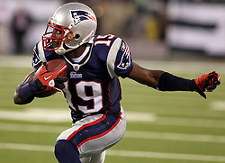 Sept 19, 2011; East Rutherford, NJ, USA; New England Patriots wide receiver Brandon Tate (19) runs with the ball after making a catch during the 2nd half at the New Meadowlands Stadium.  The Jets defeated the Patriots 28-14.