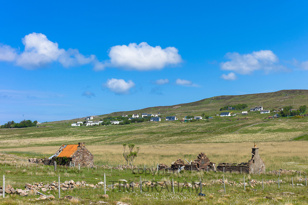 Derelict cottage and barn in ruins in Coigach area near Achiltibuie on the West Coast of Scotland