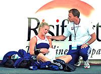 Friidrett<br /> Europacup kvinner<br /> 23.06.2007<br /> Foto: Hasse Sjøgren, Digitalsport<br /> <br /> Cathrine Larsåsen ble uten resultat i stav. Her sammen med stavtrener Anker Thomsen