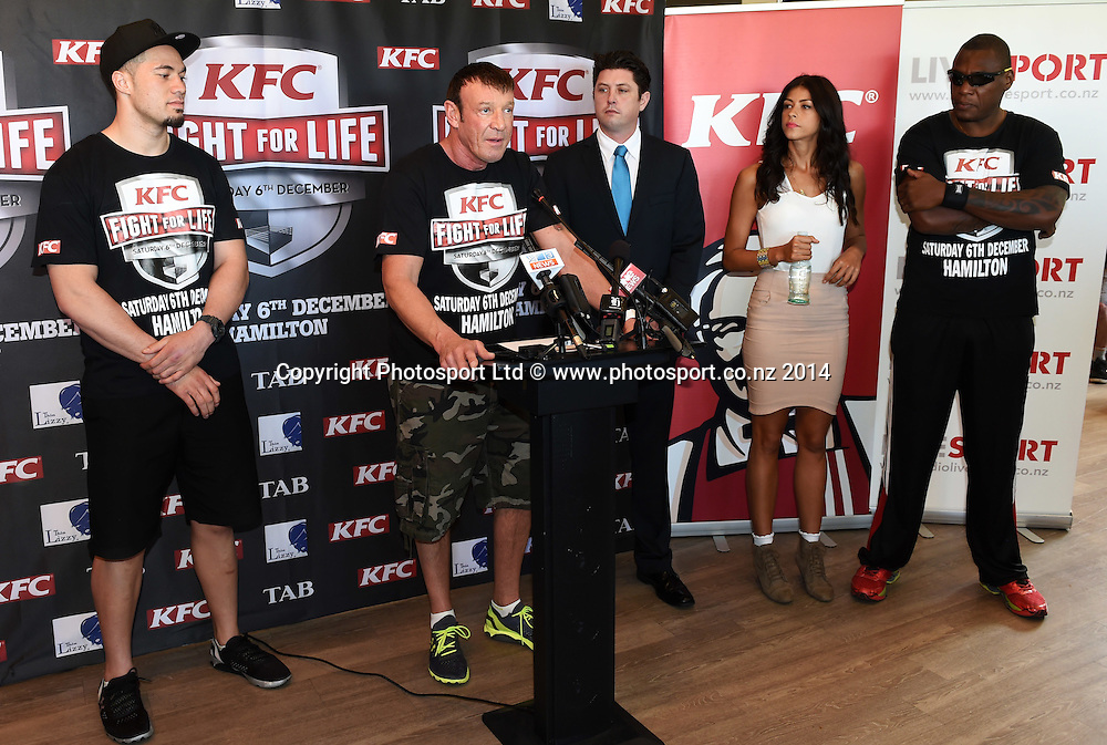 Trainer Kevin Barry during a press conference for the KFC Fight For Life by Duco Events. Auckland, New Zealand. Wednesday 3 December 2014. Photo: Andrew Cornaga/www.photosport.co.nz.