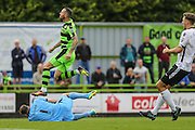 Bromley's goalkeeper Alan Julian(1) claims the ball from Forest Green Rovers Rhys Murphy (39) during the Vanarama National League match between Forest Green Rovers and Bromley FC at the New Lawn, Forest Green, United Kingdom on 17 September 2016. Photo by Shane Healey.