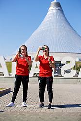 ASTANA, KAZAKHSTAN - Saturday, September 16, 2017: Wales' Chloe Lloyd and Emma Beynon on a team walk in Astana ahead of the FIFA Women's World Cup 2019 Qualifying Round Group 1 match against Kazakhstan. (Pic by David Rawcliffe/Propaganda)