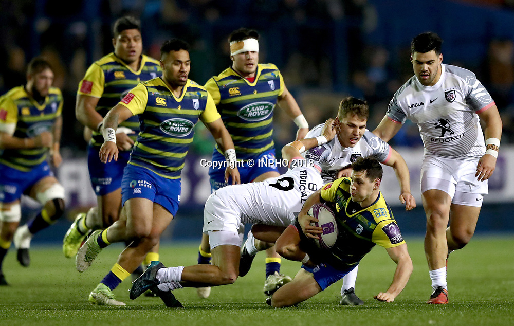 European Rugby Challenge Cup Round 5, BT Sport Cardiff Arms Park, Cardiff, Wales 14/1/2018<br /> Cardiff Blues vs Toulouse<br /> Toulouse's S&eacute;bastien B&eacute;zy and Paul Perez tackle Tomos Williams of Cardiff Blues<br /> Mandatory Credit &copy;INPHO/James Crombie