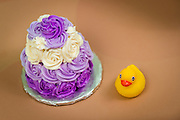 Small birthday cake with rubber duck.