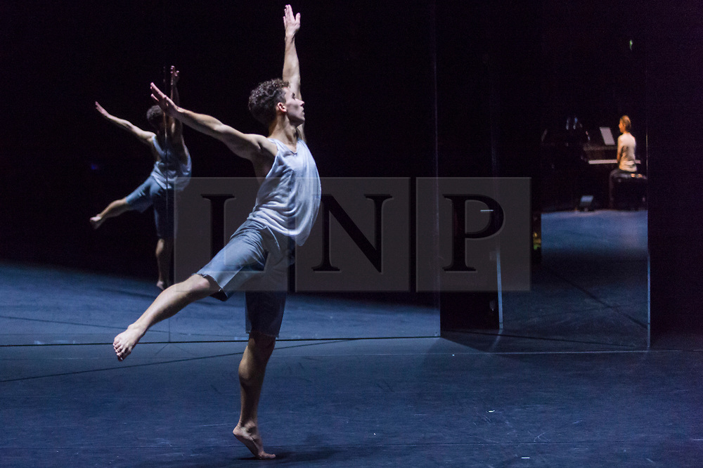 "© Licensed to London News Pictures. 24/10/2019. LONDON, UK. A dancer at a rehearsal of the UK premiere of ""For Four Walls"", choreographed by Petter Jacobsson and Thomas Caley, performed by CCN-Ballet de Lorraine to a solo piano score, at the Royal Opera House in Covent Garden.  The choreography takes place inside a mirrored space and is a re-imagined piece based on a once-lost 1944 work called ""Four Walls"".  The show is part of this years Dance Umbrella Festival which runs to 27 October.   Photo credit: Stephen Chung/LNP"