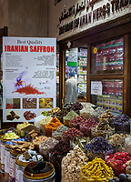 UNITED ARAB EMIRATES, DUBAI - CIRCA JANUARY 2017: Typical store around the spice market in Deira, Dubai.
