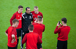 CHEPSTOW, WALES - Friday, May 23, 2014: Players take a selfie with Everton manager Roberto Martinez during the Football Association of Wales' National Coaches Conference 2014 at Dragon Park FAW National Development Centre. (Pic by David Rawcliffe/Propaganda)